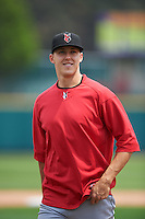 Indianapolis Indians pitcher Jameson Taillon (19) after a game against the Rochester Red Wings on May 26, 2016 at Frontier Field in Rochester, New York.  Indianapolis defeated Rochester 5-2.  (Mike Janes/Four Seam Images)