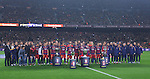 30.12.2015 Barcelona. La Liga , day 17. Picture show FCB team offer all trophy win this season before game between FC Barcelona against Betis at Camp Nou