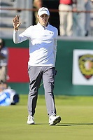 Matthew Fitzpatrick (ENG) sinks his birdie putt on the 18th green during Saturday's Round 3 of the 2018 Omega European Masters, held at the Golf Club Crans-Sur-Sierre, Crans Montana, Switzerland. 8th September 2018.<br /> Picture: Eoin Clarke | Golffile<br /> <br /> <br /> All photos usage must carry mandatory copyright credit (&copy; Golffile | Eoin Clarke)