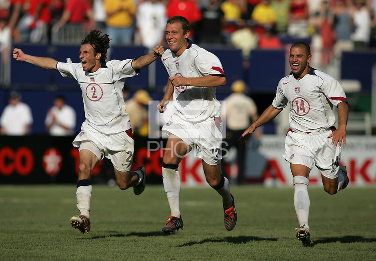 July 24, 2005: East Rutherford, NJ, USA:  USMNT teammates Frankie Hejduk (2), Jimmy Conrad (12) and Chris Armas (14) celebrate after winning the CONCACAF Gold Cup at Giants Stadium by defeating Panama on penalty kicks.