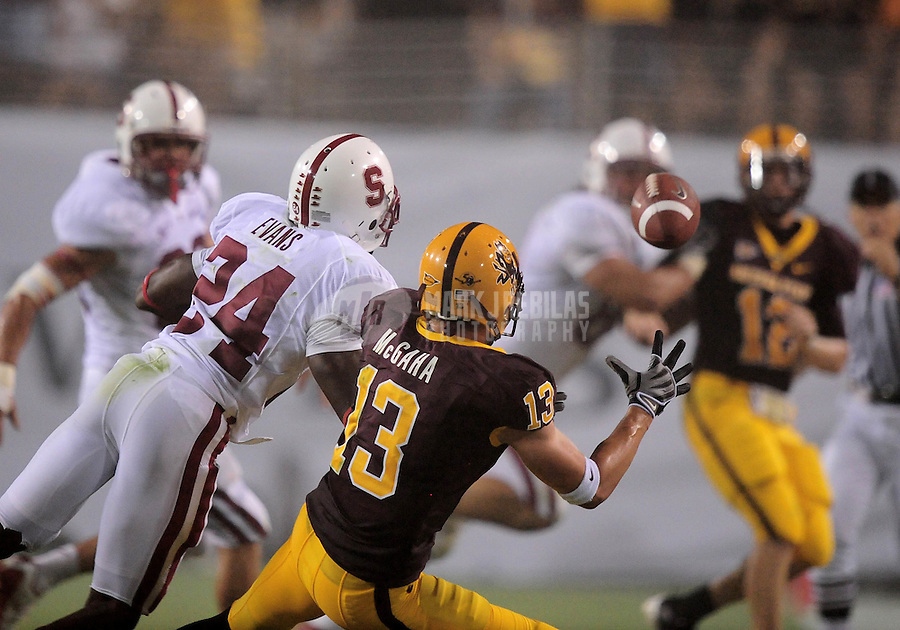 Sept 6, 2008; Tempe, AZ, USA; Arizona State University Sun Devils wide receiver (13) Chris McGaha catches a pass against the Stanford Cardinal at Sun Devil Stadium. Mandatory Credit: Mark J. Rebilas-