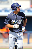 Tampa Bay Rays outfielder Cesar Perez #17 during an Instructional League game against the Baltimore Orioles at Charlotte County Sports Park on October 7, 2011 in Port Charlotte, Florida.  (Mike Janes/Four Seam Images)