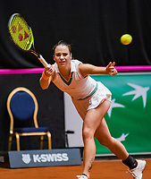 Den Bosch, The Netherlands, Februari 10, 2019,  Maaspoort , FedCup  Netherlands - Canada, doubles match Sunday :  Bibiane Schoofs (NED)<br /> Photo: Tennisimages/Henk Koster