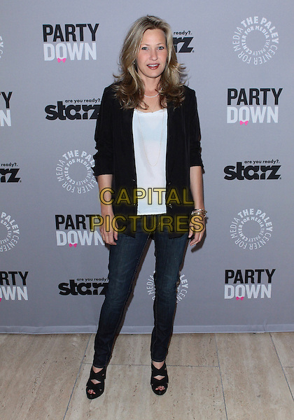 "JOEY LAUREN ADAMS .The Paley Center For Media Presents ""Party Down"" held at The Paley Center for Media, Beverly Hills, California, USA, 18th April 2010..full length jacket blazer jeans top t-shirt black white .CAP/ADM/TC.©T. Conrad/AdMedia/Capital Pictures."