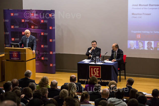 (From R to L) Peter Sutherland, Jos&eacute; Manuel Barroso and Maurice Fraser. <br />
