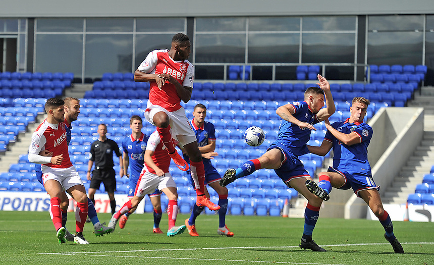 Fleetwood Town's Jamille Matt has a rare first half whot at goal<br /> <br /> Photographer Dave Howarth/CameraSport<br /> <br /> Football - The Football League Sky Bet League One - Oldham Athletic v Fleetwood Town - Saturday 15th August 2015 - SportsDirect.com Park - Oldham<br /> <br /> &copy; CameraSport - 43 Linden Ave. Countesthorpe. Leicester. England. LE8 5PG - Tel: +44 (0) 116 277 4147 - admin@camerasport.com - www.camerasport.com