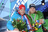 SCHAATSEN: AMSTERDAM: Olympisch Stadion, 02-03-2014, KPN NK Sprint/Allround, Coolste Baan van Nederland, Nederlandse allround kampioenen Yvonne Nauta en Koen Verweij, ©foto Martin de Jong