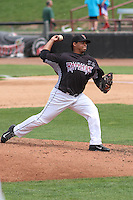 Wisconsin Timber Rattlers pitcher Angel Ventura (38) delivers a pitch during a Midwest League game against the Kane County Cougars on May 16th, 2015 at Fox Cities Stadium in Appleton, Wisconsin.  Kane County defeated Wisconsin 4-2.  (Brad Krause/Four Seam Images)
