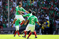 SOCCER/FUTBOL.ELIMINATORIAS CONCACAF 2010.MEXICO VS ESTADOS UNIDOS.TIEMPO DE CELEBRAR EL GOL.Action photo of Israel Castro of Mexico celebrating goal, during World  Cup 2010 qualifier game against USA at the Azteca Stadium./Foto de accion de Israel Castro de Mexico celebrando el gol, durante juego eliminatorio de Copa del Mundo 2010 en el Estadio Azteca. 12 August 2009. MEXSPORT/ISAAC ORTIZ