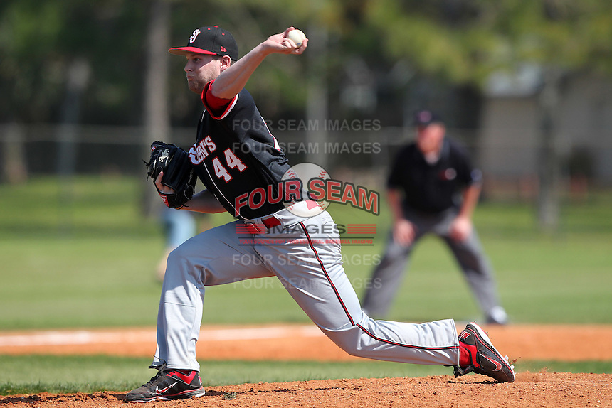 Kevin Kilpatrick #44 of the St. John's Red Storm during a game vs the Ohio State Buckeyes at the Big East-Big Ten Challenge at Walter Fuller Complex in St. Petersburg, Florida;  February 20, 2011.  Ohio State defeated St. John's 8-7 in 11 innings.  Photo By Mike Janes/Four Seam Images