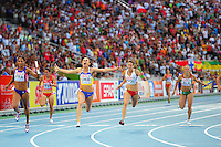 Antonina Yefremova (CS), din Ucraina, se bucura dupa finala probei de stafeta 4x400m, la Campionatele Europene de Atletism, in Barcelona, duminica, 1 august 2010. MIRCEA ROSCA / MEDIAFAX FOTO