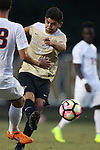10 September 2016: Wake Forest's Jon Bakero (ESP). The Wake Forest University Demon Deacons hosted the University of Virginia Cavaliers in a 2016 NCAA Division I Men's Soccer match. Wake Forest won the game 1-0 in sudden death overtime.