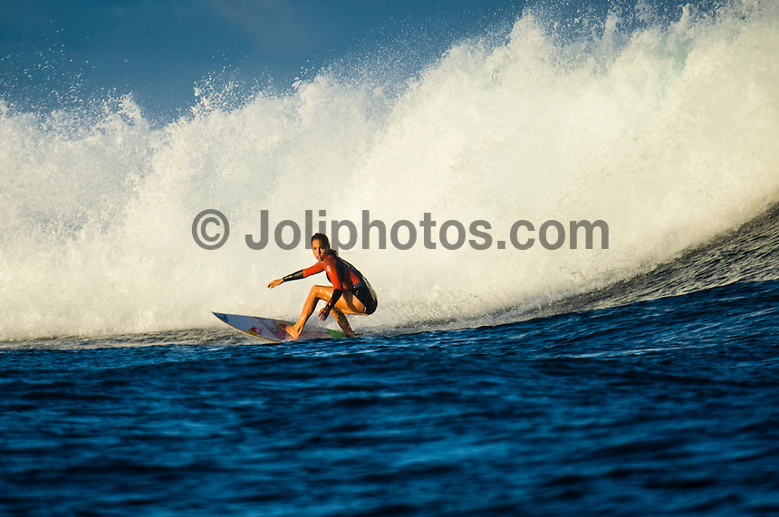 Namotu Island Resort, Namotu, Fiji. (Tuesday May 20, 2014) Sally Fitzgibbons (AUS) during an early morning surf at Cloudbreak. – There were light winds early today with sunshine and the odd passing shower producing rainbows on and off all morning. There were small wave sessions at Cloudbreak and Namotu Lefts for some of the guests. Photo: joliphotos.com