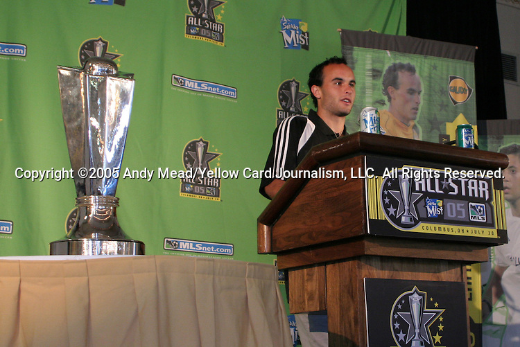 29 July 2005: MLS All-Star Landon Donovan makes some remarks to the media the day before the MLS All-Stars played Fulham FC of the English Premier League at Columbus Crew Stadium in Columbus, Ohio in the 2005 Major League Soccer Sierra Mist All-Star Game..