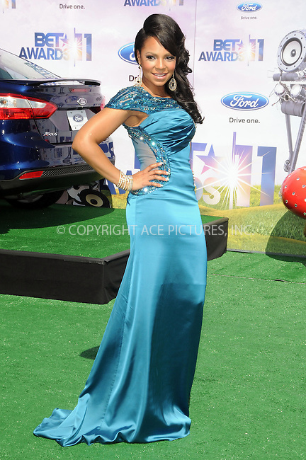 WWW.ACEPIXS.COM . . . . .  ....June 26 2011, Los Angeles....Ashanti arriving at the BET Awards '11 held at the Shrine Auditorium on June 26, 2011 in Los Angeles, California.....Please byline: PETER WEST - ACE PICTURES.... *** ***..Ace Pictures, Inc:  ..Philip Vaughan (212) 243-8787 or (646) 679 0430..e-mail: info@acepixs.com..web: http://www.acepixs.com