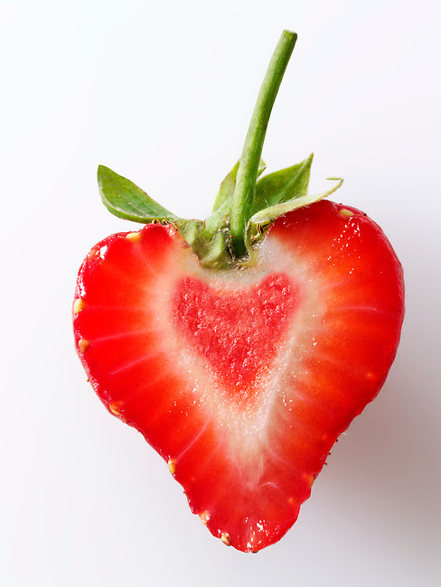 heart shaped strawberry half