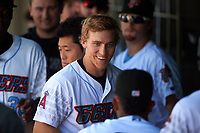 Inland Empire 66ers first baseman Jordan Zimmerman (5) celebrates with teammates after hitting a home run during a California League game against the Lancaster JetHawks at San Manuel Stadium on May 20, 2018 in San Bernardino, California. Inland Empire defeated Lancaster 12-2. (Zachary Lucy/Four Seam Images)