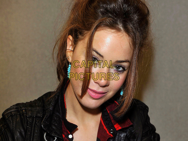 Roxanne McKee.Collectormania 18 at Stadium: MK, Milton Keynes, Buck, England..3rd June 2012.headshot portrait black turquoise earrings.CAP/JIL.©Jill Mayhew/Capital Pictures..