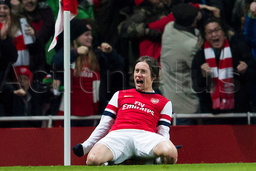 04.01.2014 London, England.  Arsenal midfielder Tomas ROSICKY celebrates his goal during the FA Cup 3rd Round game between Arsenal and Tottenham Hotspur from the Emirates Stadium.