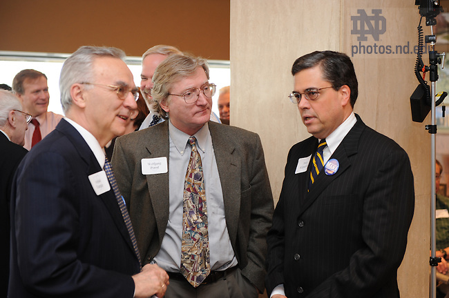 Wolfgang Porod, center, and Dean of the College of Engineering Peter Kilpatrick at the press conference announcing MANA, or Midwest Academy for Nanoelectronics and Architectures.
