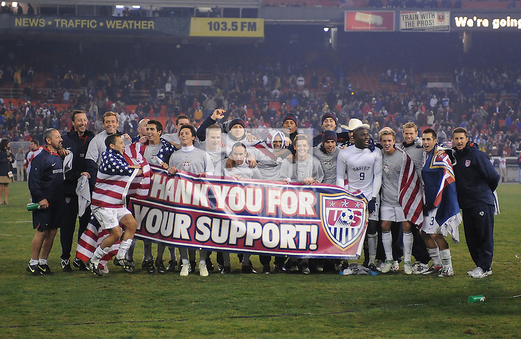 USMNT thanking the fans for their support during the qualification stage to get to South Africa.   The USMNT tied Costa Rica 2-2 on the final game of the 2010 FIFA World Cup Qualifying round at RFK Stadium, Wednesday October 14, 2009.
