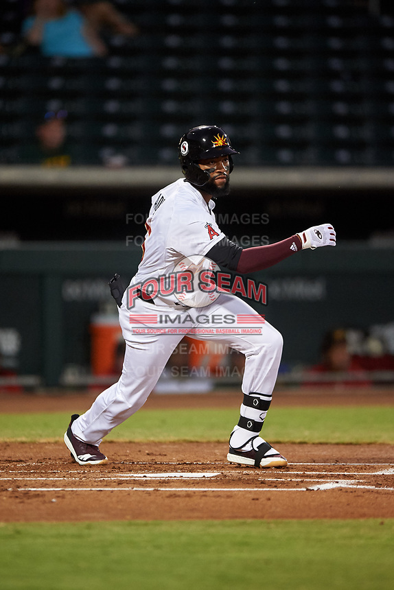 Mesa Solar Sox Jo Adell (25), of the Los Angeles Angels organization, at bat during an Arizona Fall League game against the Scottsdale Scorpions on September 18, 2019 at Sloan Park in Mesa, Arizona. Scottsdale defeated Mesa 5-4. (Zachary Lucy/Four Seam Images)