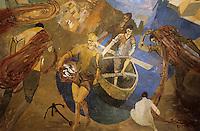"""Europe/Italie/Côte Amalfitaine/Campagnie/Positano : Plafond peint de la salle du restaurant """"O'Capurale"""" via Regina Giovanna représentant les pécheurd rentrant de la pêche"""