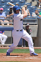 Tulsa Drillers third baseman Kyle Farmer (17) swings during a game against the Arkansas Travelers at Oneok Field on May 21, 2017 in Tulsa, Oklahoma.  The Drillers won 13-6. (Dennis Hubbard/Four Seam Images)
