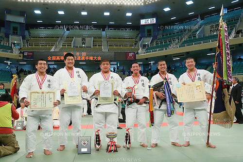 Shutoku High School team group, <br /> MARCH 21, 2014 - Judo : <br /> The 36th All Japan High School Judo Tournament <br /> Men's Victory Cerenony <br /> at Nippon Budokan, Tokyo, Japan. <br /> (Photo by YUTAKA/AFLO SPORT) [1040]