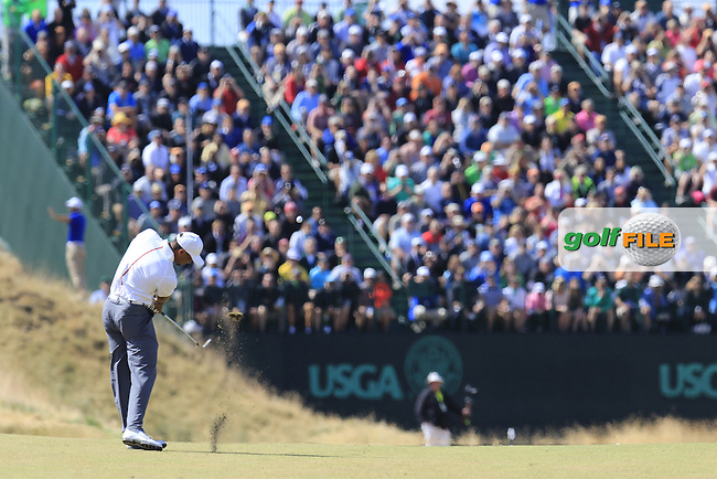 Tiger WOODS (USA) plays his 2nd shot on the 16th hole during Friday's Round 2 of the 2015 U.S. Open 115th National Championship held at Chambers Bay, Seattle, Washington, USA. 6/19/2015.<br /> Picture: Golffile | Eoin Clarke<br /> <br /> <br /> <br /> <br /> All photo usage must carry mandatory copyright credit (&copy; Golffile | Eoin Clarke)