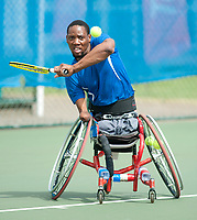 Lucas Sithole (RSA) [2] in action during the British Open Wheelchair Tennis Championships 2014 at Nottingham Tennis Centre.<br /> <br /> Picture: Chris Vaughan/Tennis Foundation<br /> Date: Wednesday, July 16, 2014