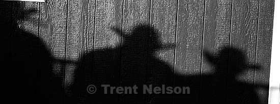 Cowboy shadows. Round Valley Rodeo.<br />