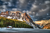 Long exposure hdr of Lake Louise in the early morning sun in Banff National Park, Alberta Canada