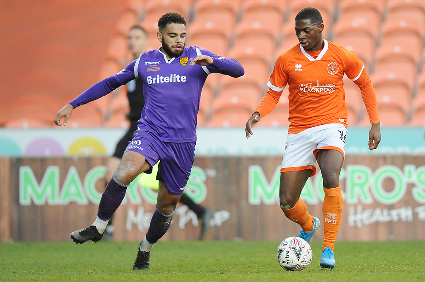Blackpool's Sullay Kaikai<br /> <br /> Photographer Kevin Barnes/CameraSport<br /> <br /> Emirates FA Cup Second Round - Blackpool v Maidstone United - Sunday 1st December 2019 - Bloomfield Road - Blackpool<br />  <br /> World Copyright © 2019 CameraSport. All rights reserved. 43 Linden Ave. Countesthorpe. Leicester. England. LE8 5PG - Tel: +44 (0) 116 277 4147 - admin@camerasport.com - www.camerasport.com