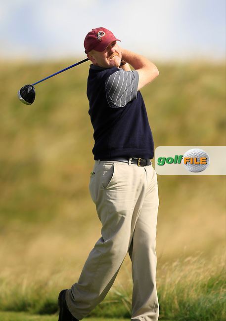 Eoin O'Sullivan (The Island) on the 14th tee during the South of Ireland Amateur Open Championship Third Round at Lahinch Golf Club  29th July 2013 <br /> Picture:  Thos Caffrey / www.golffile.ie