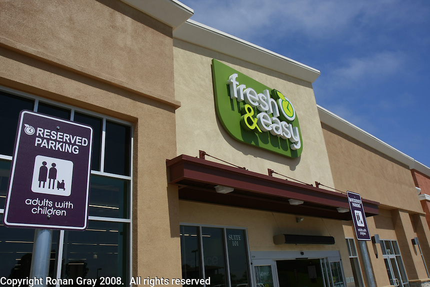 An exterior view of European grocery giant TESCO's new Fresh & Easy store at the corner of Canon and Catalina in Point Loma on Monday, July 21 2008.  The store has elaborate energy saving systems and front row reserved parking spaces for HYBRID vehicles and families shopping with their children.