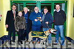 Fermoyle Trump winner of the Supporters Club A3 Sweep Final at the Kingdom greyhound Stadium on Friday. Pictured Declan Dowling Theresa Houlihan, Liam Houlihan, Murt Murphy, John Sugrue, Kieran Casey