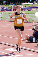 Missouri's Laura Roxberg crosses the finishline to earn a school record and conference title in the 1500 meters at the Big 12 Outdoor Track and Field Championships in Manhattan, Ks. Sunday, May 15. Roxberg finished in 4:16.71 to break former All-American and relay national champion Ann-Marie Brooks Mizzou record and beat the competiton by nearly 3.5 seconds.