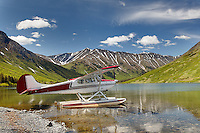 Float plane on small remote lake, Alaska
