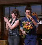 Jason Mraz and Sara Bareilles take a bow at the curtain call of Broadway's 'Waitress' at The Brooks Atkinson Theatre on November 3, 2017 in New York City.