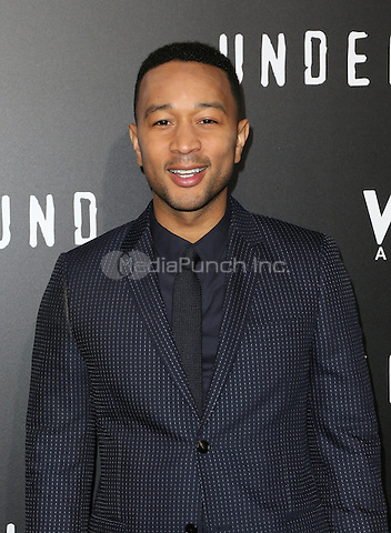 "WESTWOOD, CA - February 28: John Legend, At Premiere Of WGN America's ""Underground"" Season 2, At The Regency Village Theatre In California on February 28, 2017. Credit: Faye Sadou/MediaPunch"