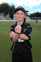 ANZ coin toss winner, Nathan Broadhurst, age 10. New Zealand Blackcaps v England. One Day International Cricket. Seddon Park, Hamilton, New Zealand on Sunday 25 February 2018.<br /> <br /> Copyright photo: &copy; Bruce Lim / www.photosport.nz