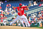 26 September 2010: Washington Nationals pitcher Livan Hernandez on the mound against the Atlanta Braves at Nationals Park in Washington, DC. The Nationals defeated the pennant-seeking Braves 4-2 to take the rubber match of their 3-game series. Mandatory Credit: Ed Wolfstein Photo