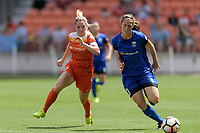 Houston, TX - Saturday May 27, 2017: Kealia Ohai races for the ball during a regular season National Women's Soccer League (NWSL) match between the Houston Dash and the Seattle Reign FC at BBVA Compass Stadium.