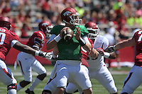 NWA Democrat-Gazette/Michael Woods --04/25/2015--w@NWAMICHAELW... University of Arkansas quarterback Austin Allen drops back to pass during the 2015 Red-White game Saturday afternoon at Razorback Stadium in Fayetteville.