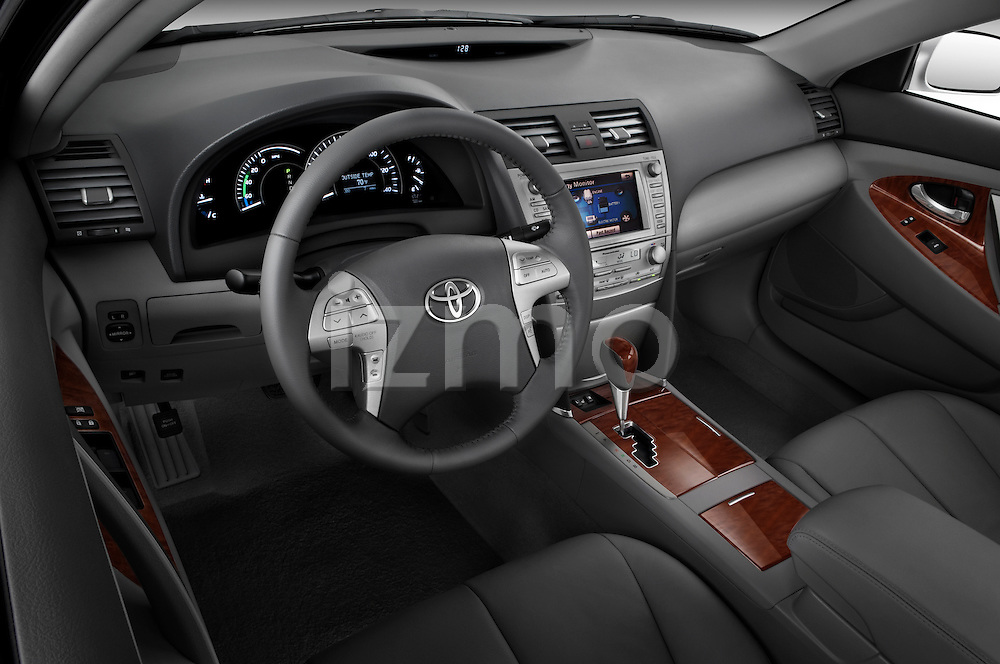High angle dashboard view of a 2010 Toyota Camry Hybrid