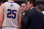 OMAHA, NE - FEB 28: Coach Scott Nagy of South Dakota State talks with his team during a time-out during the second half of their game against the University of Nebraska Omaha on Thursday at Ralston Arena in Omaha, NE. (Photo By Ty Carlson for Dakota Press)