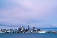 Auckland skyline at sunrise seen from Devenport, Auckland, New Zealand North Island