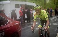Eliot Lietaer (BEL/Wallonie-Bruxelles) struggling up the last (categorised) climb of the day; the Côte de la Roche-aux-Faucons<br /> <br /> 105th Liège-Bastogne-Liège 2019 (1.UWT)<br /> One day race from Liège to Liège (256km)<br /> <br /> ©kramon