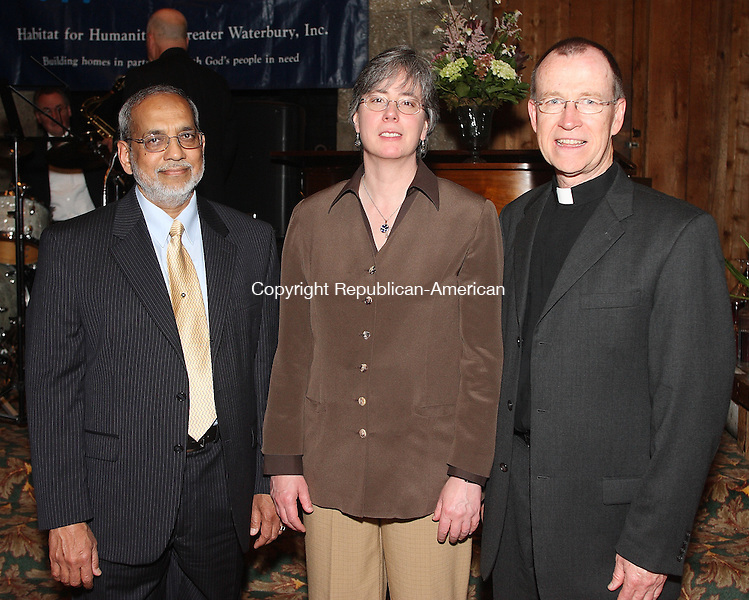 Southbury, CT-31 May 2008-053108MK11  Majeed Sharif, Kristine Hansen and Father Joseph Donnelly gathered at The Heritage Hotel for the Habitat for Humanity 3rd Annual Gala   in Southbury. Michael Kabelka / Republican-American  ( Majeed Sharif, Kristine Hansen and Father Joseph Donnelly)CQ